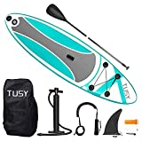 TUSY Inflatable Paddle Boards 10' Inflatable Paddleboards with All SUP Accessories Paddle, Hand Pump, Carry Bag, Drop Stitch, Traveling Board for Surfing