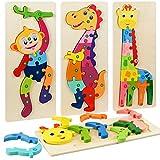 Faburo 4PCS Animaux Puzzles en Bois, Jigsaw Puzzle Jouets, Bébé Puzzle à...
