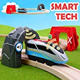 Battery Locomotive Train with Circuit Track & 2 Smart Tech Action Tunnels - 13 Piece Train Toy with Accessories and Wooden Tracks for Kids Age 3 and Up