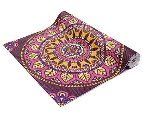 HOMEWARDS Non Slip Eco-Friendly Anti-Tear Printed 6 mm Extra Thick High Density Yoga Mat (72 X 24-inch, Multicolour) with Carry Bag