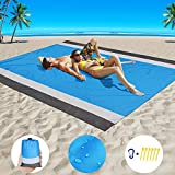 Beach Blanket Sand Proof Beach Mat Sand Free Extra Large Oversized for 4-7 Adults Waterproof Big & Compact Sandless Picnic Mat Quick Drying Nylon Lightweight with 6 Stakes & 4 Corner Pocket (7'×6.6')
