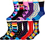 ZEKE Men's Pattern Dress Funky Fun Colorful Crew Socks 12 Assorted Patterns (Variation Z)