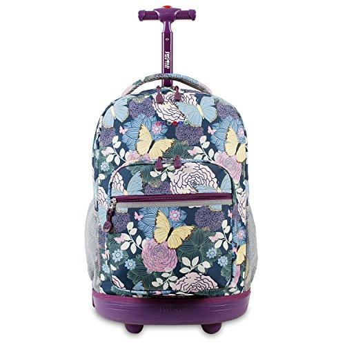 J World New York Sunrise Rolling Backpack, Secret Garden, 18'