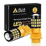 Alla Lighting 3157 LED Bulbs Super Bright 3156 3056 3157KX 4157 3457 4157NAK 3757 T25 Wedge LED Turn Signal Blinker Lights, Amber Yellow