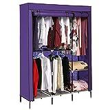 Corgy Foldable Clothes Wardrobe Closets Double Rod Non-woven Fabric Storage Organizer Shelves, Purple(US Stock)