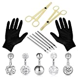 Unihubys 19PCS Piercing Kit Professional Belly Piercing Kit Multicolor Steel 14G Belly Navel Rings Body Piercing Set for Navel Piercing Kit, Piercing Tool and Piercing Supplies