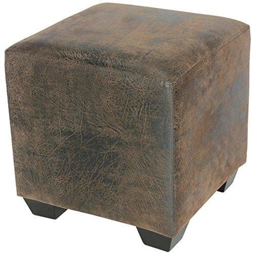 Sitzwürfel Sitzhocker Hocker Gepolstert Braun - 2001A/2087 - Füße Wenge - Bezug Braun Antiklederlook