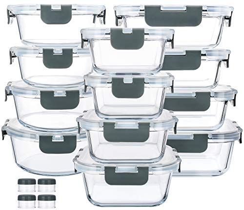 24-Piece Glass Food Storage Containers with Upgraded Snap Locking Lids,Glass Meal Prep Containers Set - Airtight Lunch Containers, Microwave, Oven, Freezer and Dishwasher Safe