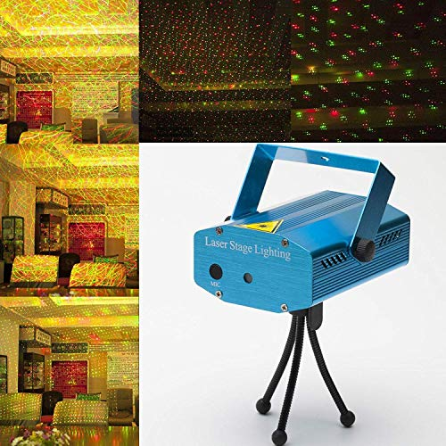Live Cosmetics Multi Pattern Sound Activated Laser MIni Disco Light Projector Stage Lighting (Blue)