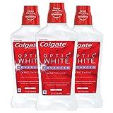 Colgate Optic White Alcohol Free Whitening Mouthwash, 2% Hydrogen Peroxide, Fresh Mint - 946mL, 32 Fluid Ounce (3 Pack)