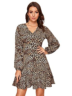 Material: 100% Polyester. Fabric has no stretch. Feature: Leopard Print, Ruffle Hem, Bishop Sleeve, A-Line, V Neck, Long Sleeve, High Waisted, Elegant Occasion: Great for Work, Office, Campus, Party, Beach, Casual Outtings, Night Out, Club, Gathering...
