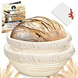 Farielyn-X 2 Set 9 Inch and 10 Inch Bread Banneton Proofing Baskets - Baking Dough Bowl Gifts for Bakers Proving Baskets for Sourdough Lame Bread Slashing Scraper Tool Starter Jar Proofing Box