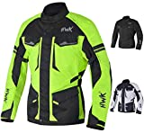 Adventure/Touring Motorcycle Jacket For Men Textile Motorbike CE Armored Waterproof Jackets ADV 4-Season (Hi-Vis Green, M)