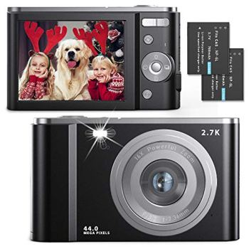 Digital Camera 2.7K Ultra HD 44MP Vlogging Camera with 16X Digital Zoom, 2.88 Inch Rechargeable Point and Shoot Camera Compact Pocket Small Camera with LED Fill Light for Kids Teens Beginners(Black)