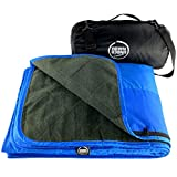 DOWN UNDER OUTDOORS Large Waterproof Windproof Extra Thick Quilted Fleece Stadium Blanket, Machine Washable Camping Picnic & Outdoor, Beach, Dog, 82 x 55 (Blue) Festival Baseball Folding Rug