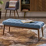 Christopher Knight Home Floral Mid Century Tufted Blue Fabric Ottoman, Walnut
