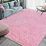 Homore Luxury Fluffy Area Rug for Bedroom Living Room Soft Carpets, Super Cute Comfortable Shag Rugs Modern Carpet for Kids Nursery Girls Home, 4x6 Feet Pink