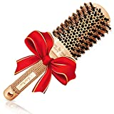 Blow Dry Round Hair Brush with Natural Boar Bristles for Blow-drying | Straightening - Best Roller Brush for Long hair or Want Straight | Wavy Smooth Hair (2')