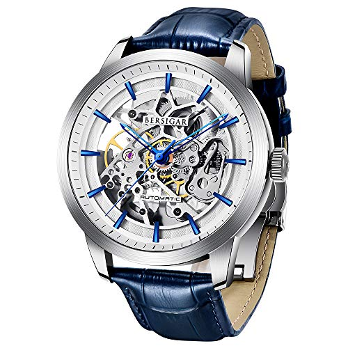 BERSIGAR Automatic Männer es Watch mit transparenter Skelettmechanik-wasserdichte Herrenwrist-Uhr, die bis zu 30 Meter mit echtem Leder-Strap & Stainless-Steel Case & Mineral Glass schützt