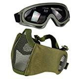 Aoutacc Airsoft Protective Gear Set, Half Face Mesh Masks with Ear Protection and Goggles Set for CS/Hunting/Paintball/Shooting (Green)