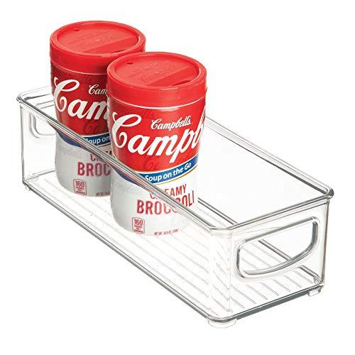 iDesign Caja transparente para el frigorífico, organizador de cocina pequeño de plástico, organizador de nevera con asas y sin tapa, transparente