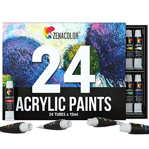 Zenacolor Acrylfarben Set - 24x12ml Tuben - Hochwertige, ungiftige Farben - Ideal für Erwachsene - Leinwandfarben für Holz, Keramik, Stoff, Ton, Glas - Perfekt für alle Bastelprojekte!