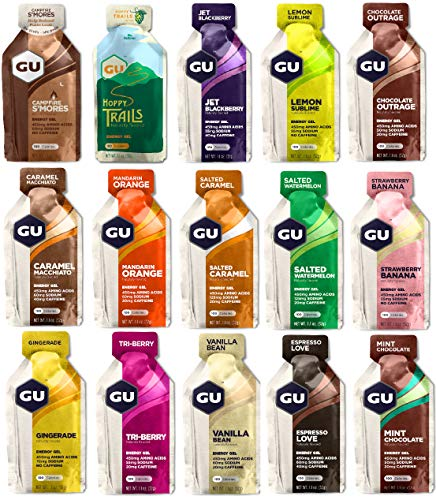 Paquete de prueba GU Energy Gel 15 variedades con 32 gramos cada una.