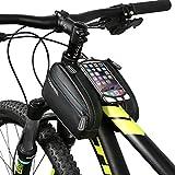 DCCN Fahrradrahmentasche Wasserdicht Oberrohrtasche Fahrradrahmendoppeltasche mit Haltetasche zu 6 Zoll Geräte für iPhone/Android,