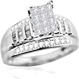Princess Cut Diamond Wedding Ring 3 in 1 Engagement & Bands White Gold .9ct Real (7) (i2/i3, i/j)