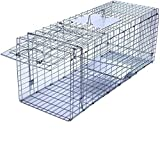 Faicuk Large Collapsible Humane Live Animal Cage Trap for Raccoon, Opossum, Stray Cat, Rabbit, Groundhog and Armadillo - 32' x 11' x 13'