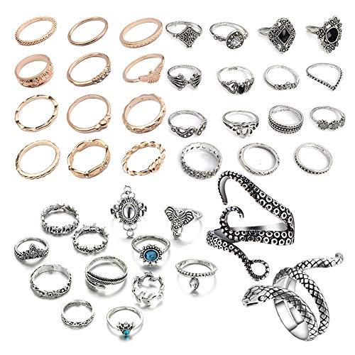 NNIOV 41Pc Fashion Boho Knuckle Rings Set for Women Girls...