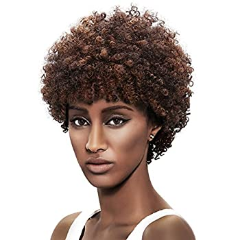 "Look NATURAL & Feel NATURAL - Look & feel like YOUR OWN HAIR with this 100% soft human hair AFRO SPIRAL WIG - 5"" short fluffy natural spiral curls with 3-color mixed for a teardrop look: round at top & tapered at ears to hug your jawline; The nice cu..."