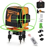 OMMO Laser Level, 12 Lines 3x360° Green Laser Level Self Leveling Tool, 132ft Green Beam Laser Level for Construction, Two 360° Vertical and One 360° Horizontal Line, Remote Controller Included