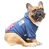 iChoue Pet Clothes Dog Hoodie Hooded Full-Zip Sweatshirt French Bulldog Pug Boston Terrier Cotton Winter Warm Coat Clothing - Navy/Size L