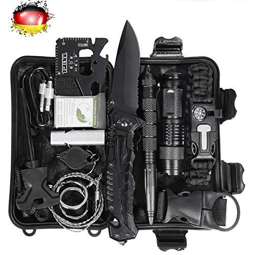 LC-dolida Survival Kit 15 in 1, Außen Notfall Survival Kit mit Messer/Taktische Taschenlampe für Camping/Bushcraft/Wandern/Jagden/Outdoor Abenteuer