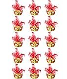 ECOSCO Mini Masquerade Masks Party Decorations 15pcs Pack Supper Small Mardi Gras Venetian Mask Party Favors (B-Red 15pcs)