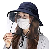 Comhats Summer Bucket Hat for Women Sun UV Protection Shield Wide Brim Gardening Packable Detachable Medium Navy