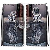 Nadoli Coloré Portefeuille Coque pour Samsung Galaxy S5,Cool Drôle Animal...