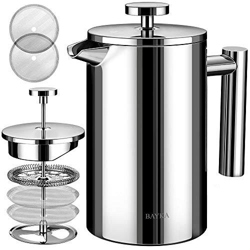 BAYKA Cafetera y tetera de pared doble estilo prensa francesa de acero inoxidable, filtro de acero inoxidable extra, inoxidable, se puede lavar en lavaplatos, Plateado, 1 litro, 1