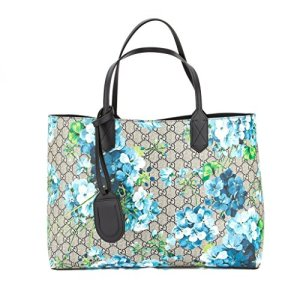 Gucci Blossoms Blue Navy Reversible GG Blooms tote Leather Handbag Bag New 8