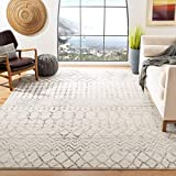 Safavieh Tulum Collection TUL270A Moroccan Boho Distressed Non-Shedding Stain Resistant Living Room Bedroom Area Rug, 9' x 12', Ivory / Grey