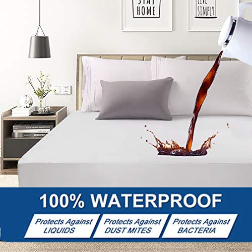 Abakan King Mattress Protector 100% Waterproof Super Soft Breathable Noiseless Premium Fitted Mattress Pad Cover Luxury Elastic Deep Pocket Vinyl Free Bed Cover 78x80 Inch
