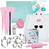 Kids Cookie Baking Set for Girls Incl. Unicorn Apron, Cookie Cutters, Complete Kit With 14 Cooking Pieces | Unicorn Gifts For Girls Ages 4 5 6 7 8 9 12