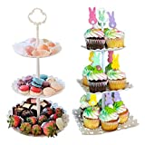 2pcs 3 Tier Dessert Stands Fruit Plates for Wedding Baby Shower Birthday/Tea Party (1pc Round and...