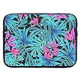 Imagen de Hojas Ilustración de Plantas Tropicales Bolsas para computadora portátil Tableta para Netbook de 15 ″, Maletín con Funda Funda de Transporte Funda para Bolso