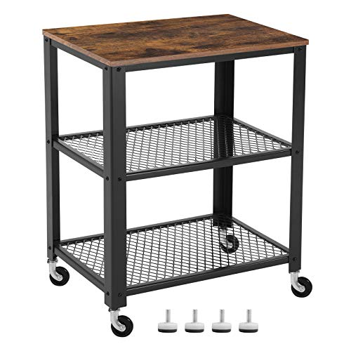 VASAGLE Servierwagen im Industrie-Design, Küchenwagen, Rollwagen, Küchenregal, aus Holz und Metall, auf 4 Rollen, 3 Ebenen für Küche und Wohnzimmer, Vintage LRC78X