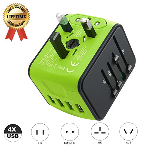 JMFONE International Travel Adapter Universal Power Adapter Worldwide All in One 4 USB with Electrical Plug Perfect for European US, EU, UK, AU 160 Countries (Green)