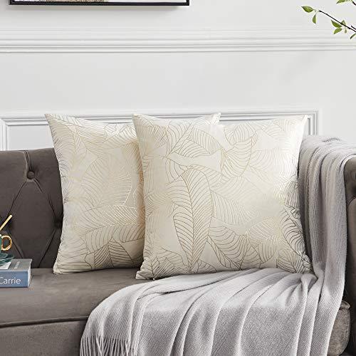 OMMATO Federe per Cuscini in Velluto 55x55 cm Federe Decorative quadrate con Stampa in Oro per Divano Camera da Letto Soggiorno Crema Set di 2