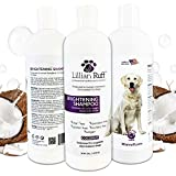 Lillian Ruff Brightening & Whitening Shampoo for Dogs – Tear Free Coconut Scent with Aloe for Normal, Dry & Sensitive Skin – Adds Shine & Luster to Coats (16 oz.)