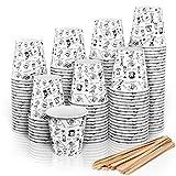 140 Espresso Gobelets en Carton 110 ML avec Agitateurs en Bois pour Café à Emporter (140)